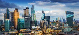 Panoramic skyline view of Bank and Canary Wharf, central London's leading financial districts